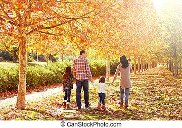 automne, marche, parc, famille