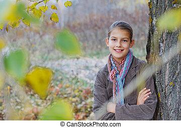 automne, marche, parc, girl