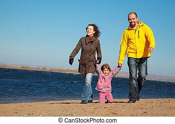 automne, marche, plage., famille, gens, ensoleillé, trois, day., long