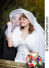 automne, mariée, palefrenier, parc, baiser