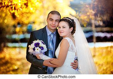 automne, mariée, palefrenier, parc