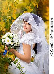 automne, mariée, parc, portrait
