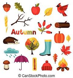 automne, mettez stylique, objets, icône