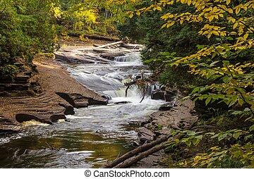 automne, michigan, chute eau