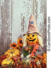 automne, mignon, entouré, épouvantail, décorations