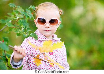 automne, mignon, girl, parc