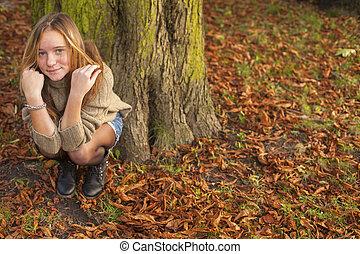 automne, mignon, girl, park., jeune