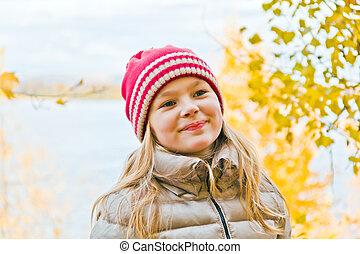 automne, mignon, girl