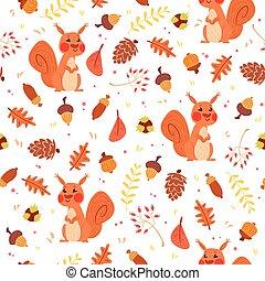 automne, mignon, seamless, écureuils, modèle