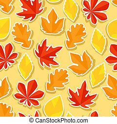 automne, modèle, autocollants, seamless, leaves.