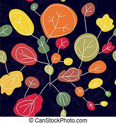 automne, modèle, clair, seamless, arbres