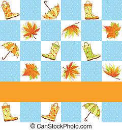 automne, modèle, coloré, pluie, seamless