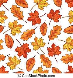 automne, modèle, feuille, seamless, fond