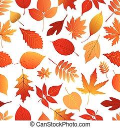 automne, modèle, feuilles, rouges, orange