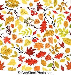 automne, modèle, feuilles, seamless, arrière-plan.