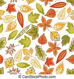 automne, modèle, feuilles, seamless, fond