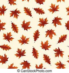 automne, modèle, feuilles, seamless