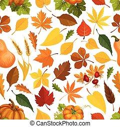 automne, modèle, feuilles, vecteur, seamless