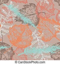 automne, modèle, seamless, pousse feuilles