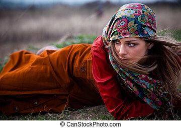 automne, mode, femme