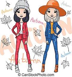 automne, mode, filles, vecteur, vêtements