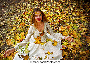 automne, mode, robe, séance femme, feuilles autome, parc...