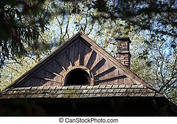 automne, montagne, couleurs, petite maison
