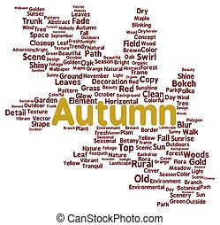 automne, mot, nuage, forme