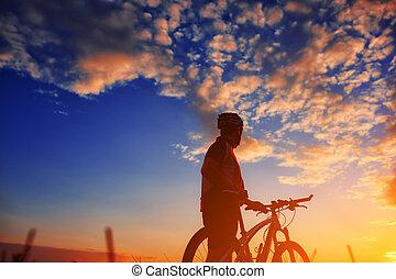 automne, motard, ensoleillé, après-midi