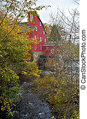 automne, moulin, rouges