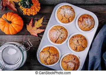 automne, muffins, fait maison, citrouille