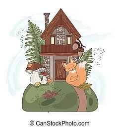 automne, nature, fée, ensemble, automne, illustration, maison, vecteur, forêt