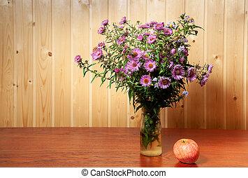 automne, nature morte, fleurs, tas