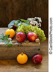 automne, nature morte, potirons, fruits