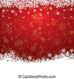 automne, neige, étoiles, blanc rouge, fond