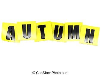 automne, note, jaune
