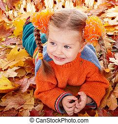 automne, orange, girl, leaves., enfant