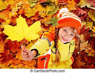 automne, orange, leaves., enfant