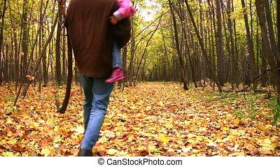 automne, père, girl, parc, danse