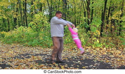 automne, père, parc, jouer, bébé