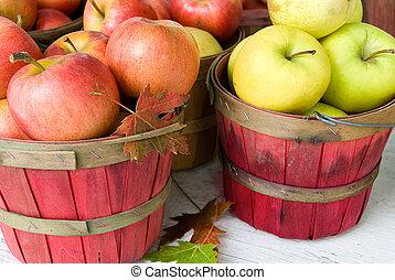automne, panier, feuille, pomme