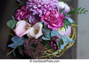 automne, panier, style, arrangement, osier, vendange, foyer, sélectif, floral