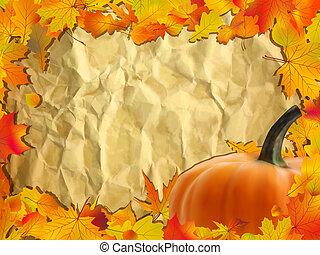 automne, paper., fond, citrouille