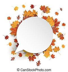 automne, papier, parole, feuillage, blanc, bulle