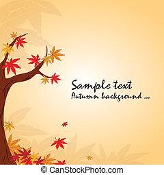 automne, papier peint, arbre