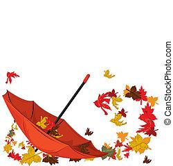 automne, parapluie, érables