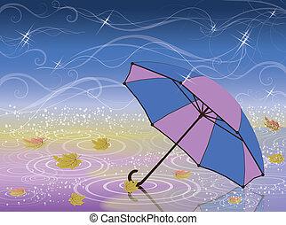automne, parapluie, vecteur, carte