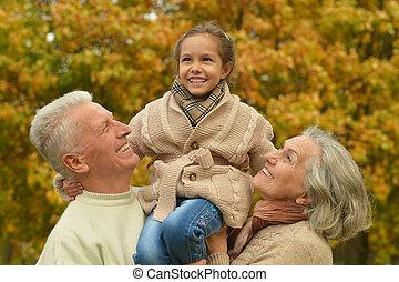 automne, parc, amical, famille