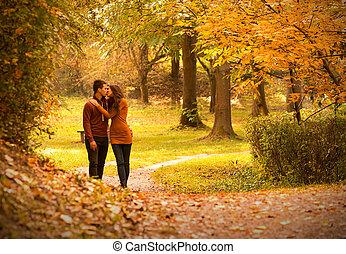 automne, parc, baiser