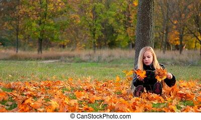 automne, parc, enfant